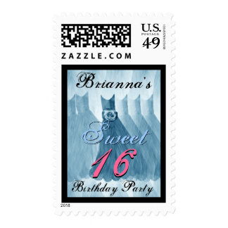 CUSTOM NAME Sweet 16 Birthday BLUE Dresses Stamps