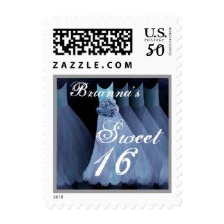 CUSTOM NAME Sweet 16 Birthday - Blue Dresses Postage