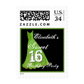 CUSTOM NAME Sweet 16 Birthday - LIME GREEN Dress Postage