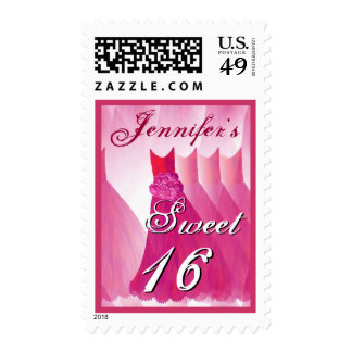 CUSTOM NAME Sweet 16 Birthday - Pink Dresses Stamps