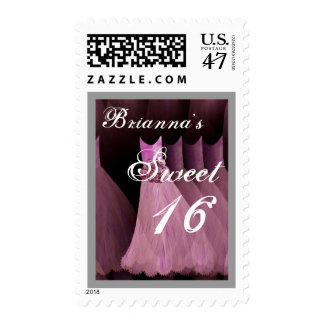 CUSTOM NAME Sweet 16 Birthday - Pink Dresses Postage