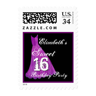 CUSTOM NAME Sweet 16 Birthday - PURPLE Dress Postage