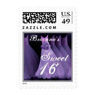 CUSTOM NAME Sweet 16 Birthday - Purple Dresses Postage