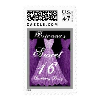 CUSTOM NAME Sweet 16 Birthday - PURPLE Dresses Postage Stamp