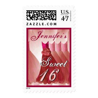 CUSTOM NAME Sweet 16 Birthday - RED Dresses Postage