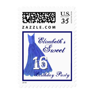 CUSTOM NAME Sweet 16 Birthday - ROYAL BLUE  Dress Postage