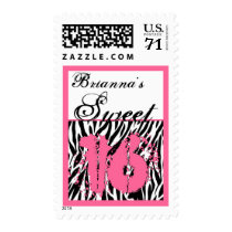 CUSTOM NAME Sweet 16 Birthday - Zebra Print Postage