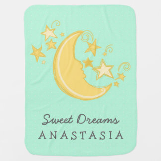 Custom Name Sweet Dreams Baby Blanket / Mint