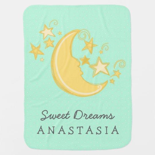 Custom Name Sweet Dreams Baby Blanket / Mint