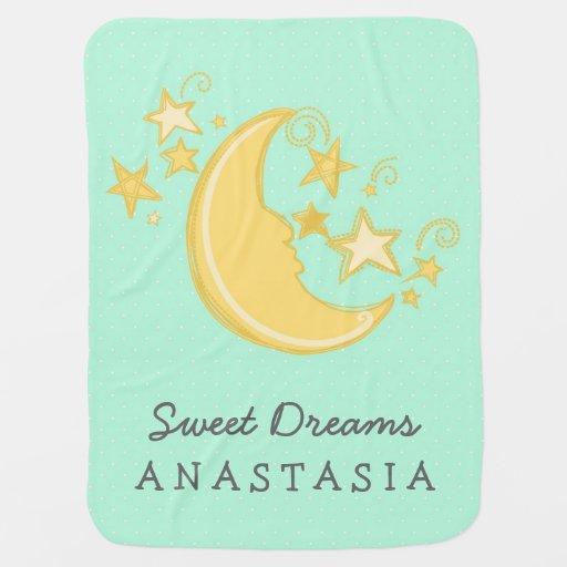 Custom Name Sweet Dreams Baby Blanket / Mint Receiving Blankets