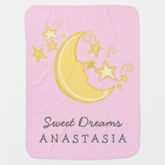 Custom Name Sweet Dreams Baby Blanket / Pink