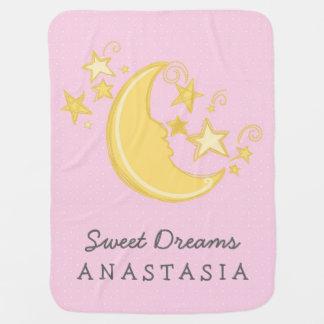 Custom Name Sweet Dreams Baby Blanket Pink Receiving Blankets