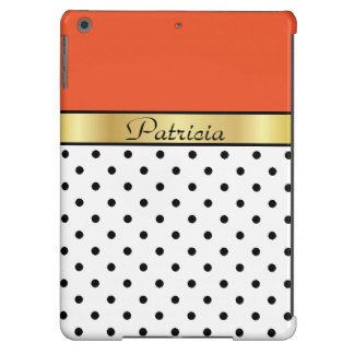 Custom Name Tangerine Tango White Black Polka Dots Case For iPad Air