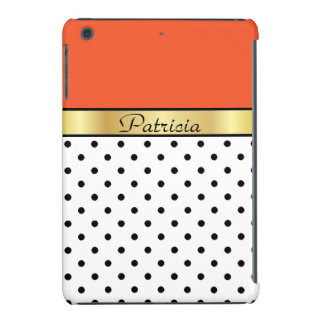 Custom Name Tangerine Tango White Black Polka Dots iPad Mini Case