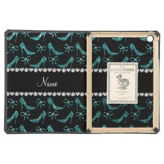 Custom name teal glitter high heels bow cover for iPad air