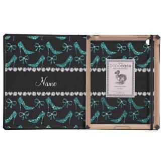 Custom name teal glitter high heels bow iPad cases