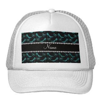 Custom name teal glitter high heels bow hats