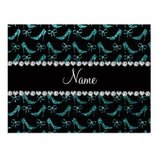 Custom name teal glitter high heels bow postcards