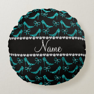 Custom name teal glitter high heels bow round pillow