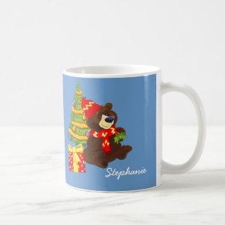 Custom Name Teddy Bear Christmas Gift Mugs
