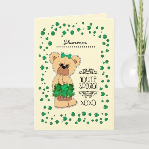 Custom Name Teddy Bear St Patricks Day Cards