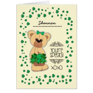 Custom Name Teddy Bear St. Patrick's Day Cards