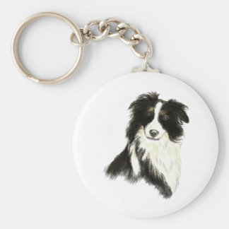 Custom Name text Border Collie Dog Pet Keychain