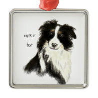 Custom Name text Border Collie Dog Pet Christmas Ornament