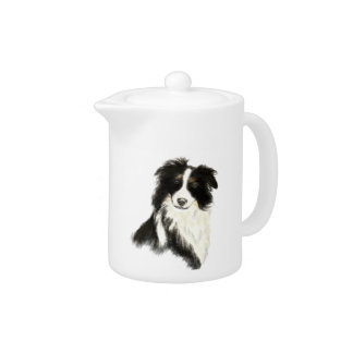 Custom Name text Border Collie Dog Pet Teapot