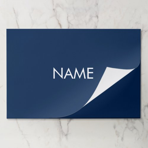 Custom name text dark navy blue white placemats