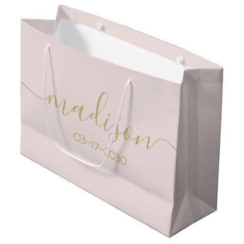 Custom Name Text Elegant Gold Script Blush Pink Large Gift Bag