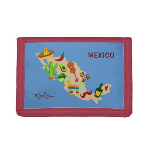 Custom name  text MEXICO cultural map wallets