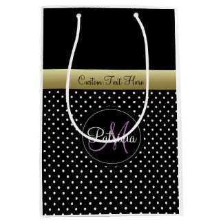 Custom Name Text Monogram.Black Polka Dots Medium Gift Bag