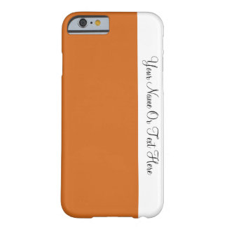 Custom Name Text. White & Cocoa Brown Color Block Barely There iPhone 6 Case