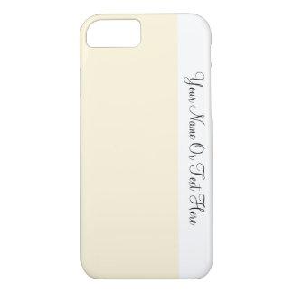 Custom Name Text. White &  Cornsilk Cream Color iPhone 8/7 Case