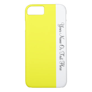 Custom Name Text. White &  Daffodil Yellow Color iPhone 7 Case