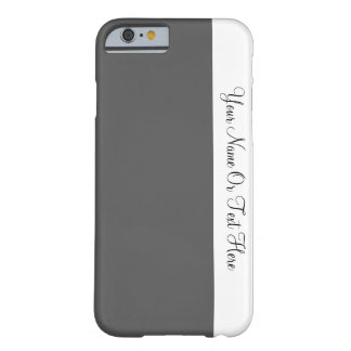 Custom Name Text. White & Davy's Grey Color Block Barely There iPhone 6 Case