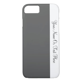 Custom Name Text. White & Davy's Grey Color Block iPhone 7 Case