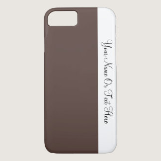 Custom Name Text. White &  Liver Brown Color Block iPhone 7 Case