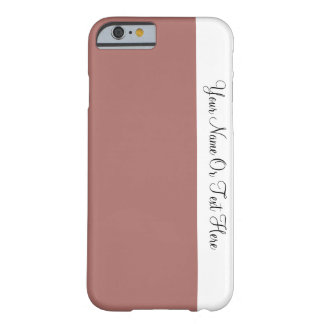 Custom Name Text. White &  Penny Brown Color Block Barely There iPhone 6 Case