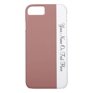 Custom Name Text. White &  Penny Brown Color Block iPhone 7 Case