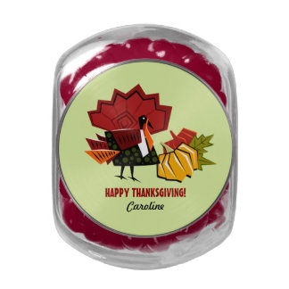 Custom Name Thanksgiving Gift Candy Glass Candy Jars