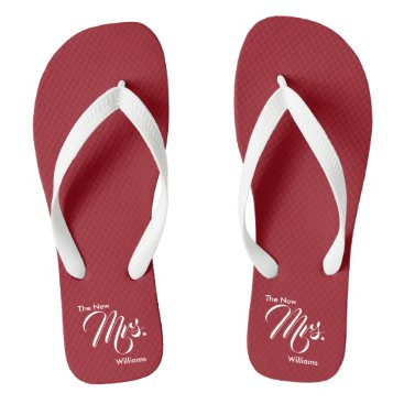 Beach Themed Custom Name The New Mrs. Red Wedding Flip Flops