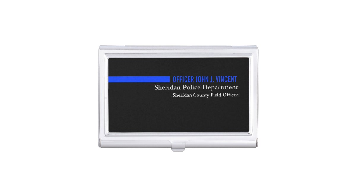 Custom name thin blue line police business card holder for Police business card