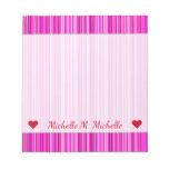 [ Thumbnail: Custom Name; Thin Magenta and Pink Stripes Pattern Notepad ]