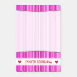[ Thumbnail: Custom Name; Thin Magenta and Pink Stripes Pattern Notes ]
