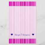 [ Thumbnail: Custom Name; Thin Magenta and Pink Stripes Pattern Stationery ]