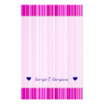 [ Thumbnail: Custom Name; Thin Magenta and Pink Stripes Pattern Stationery ]