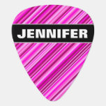 [ Thumbnail: Custom Name + Thin Pink & Magenta Lines Pattern Guitar Pick ]