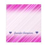 [ Thumbnail: Custom Name; Thin Pink & Magenta Lines Pattern Notepad ]